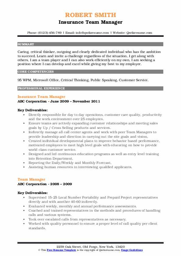 Insurance Team Manager Resume Example
