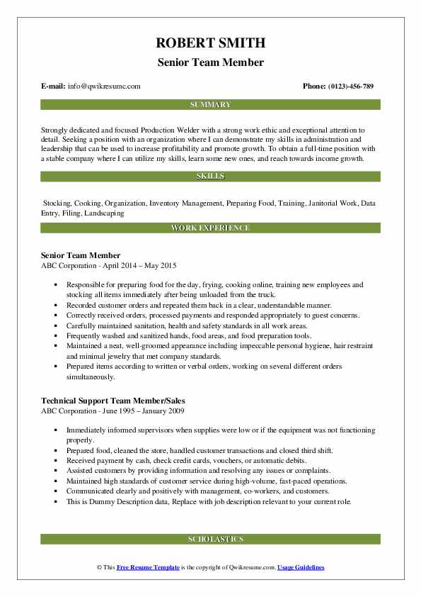 Senior Team Member Resume Format