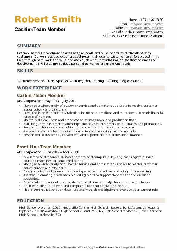 Team Member Resume example