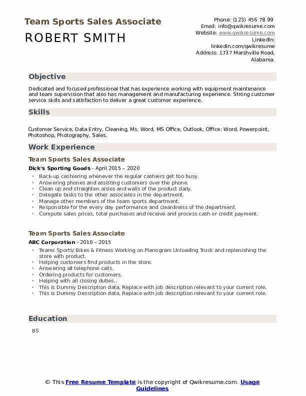 Team Sports Sales Associate Resume example