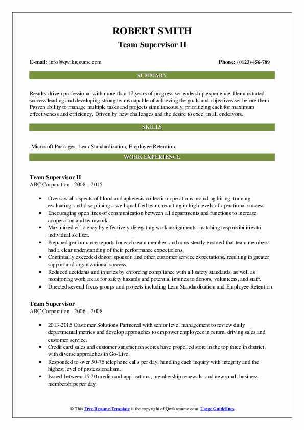 Team Supervisor II Resume Format