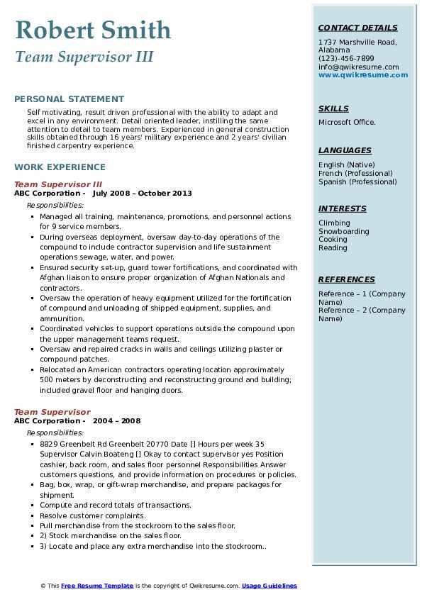 Team Supervisor III Resume Format