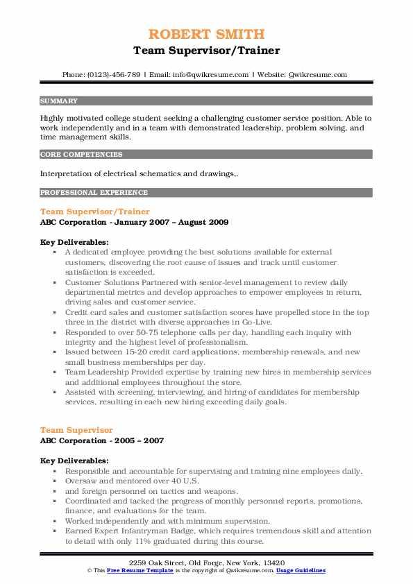 Team Supervisor/Trainer Resume Format