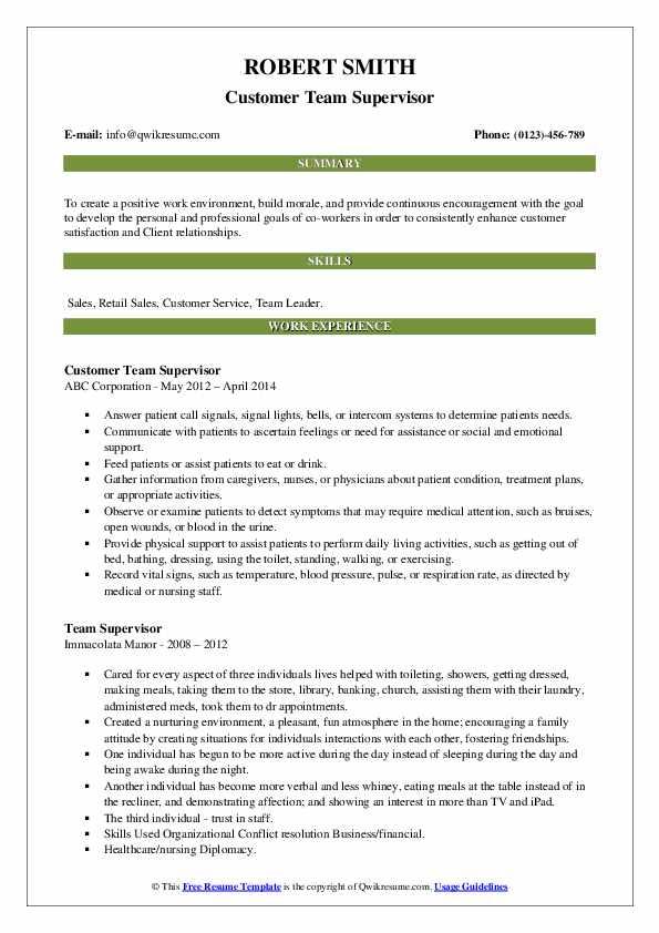 Customer Team Supervisor Resume Model