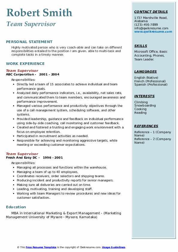 Team Supervisor Resume example