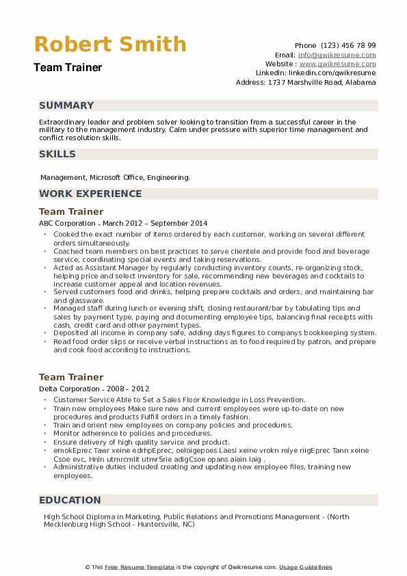 Team Trainer Resume example