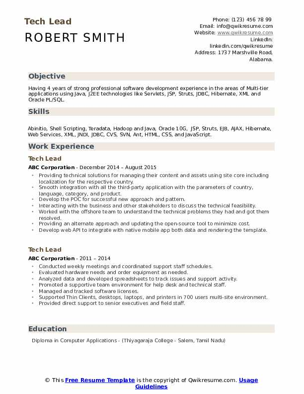 Tech Lead Resume Sample