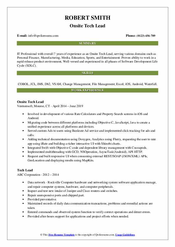Onsite Tech Lead Resume Example