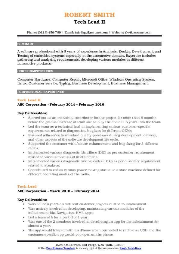 Tech Lead II Resume Model