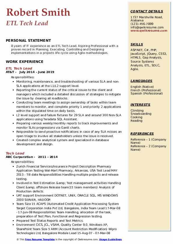 ETL Tech Lead Resume Format