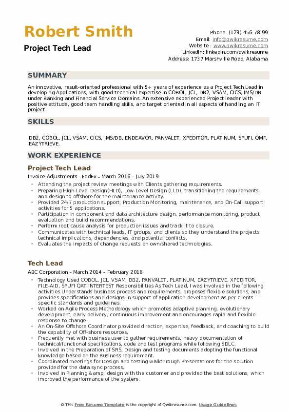 Project Tech Lead Resume Sample