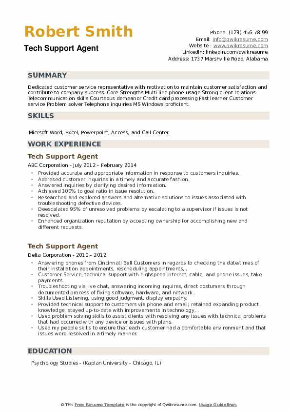 Tech Support Agent Resume example