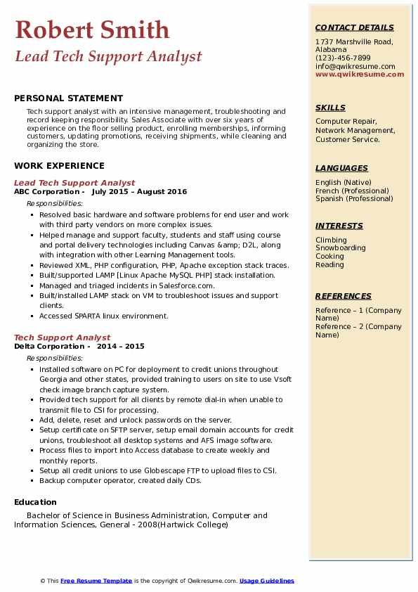tech support analyst resume samples  qwikresume