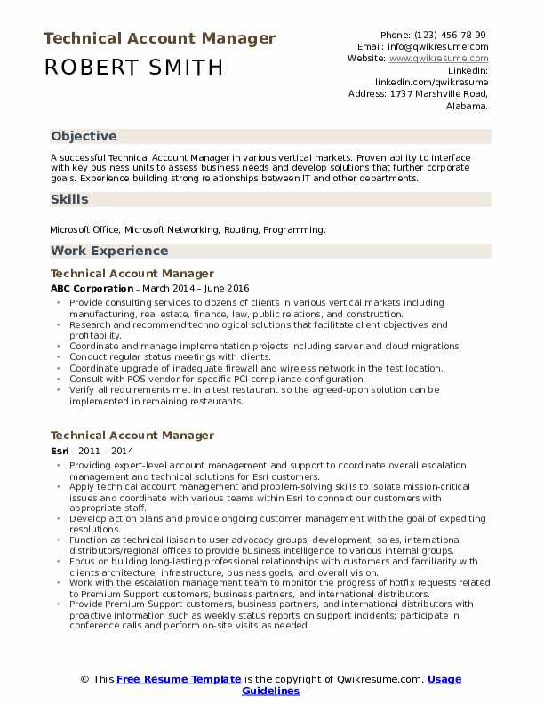 Technical Account Manager Resume Model