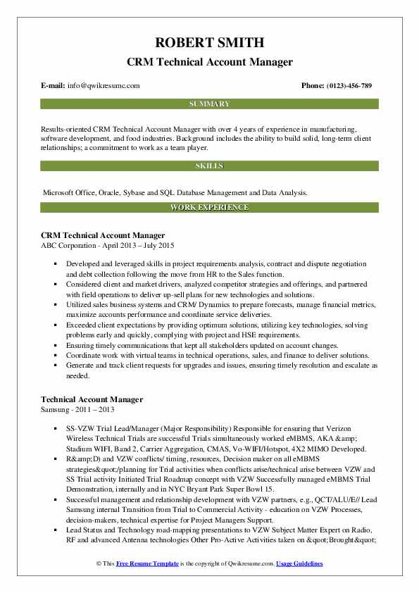 CRM Technical Account Manager Resume Template