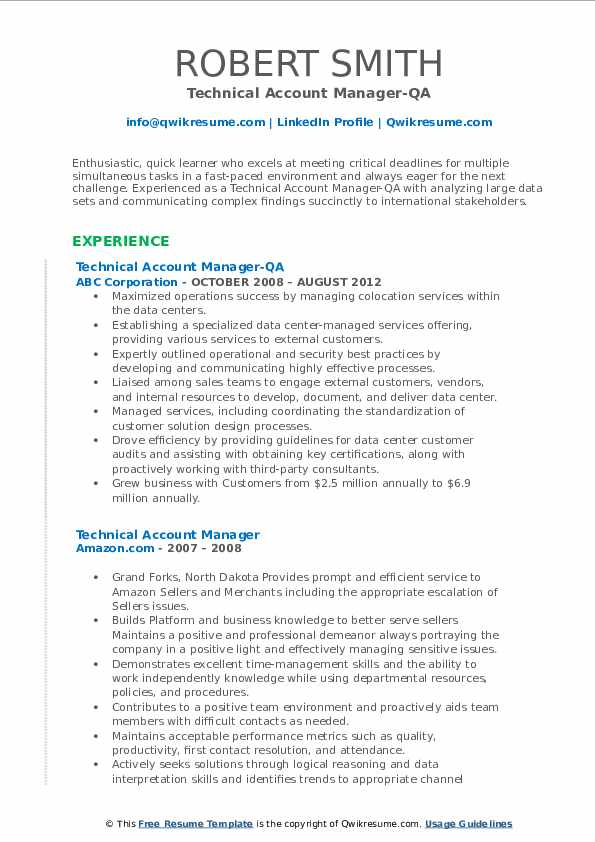 Technical Account Manager-QA Resume Model