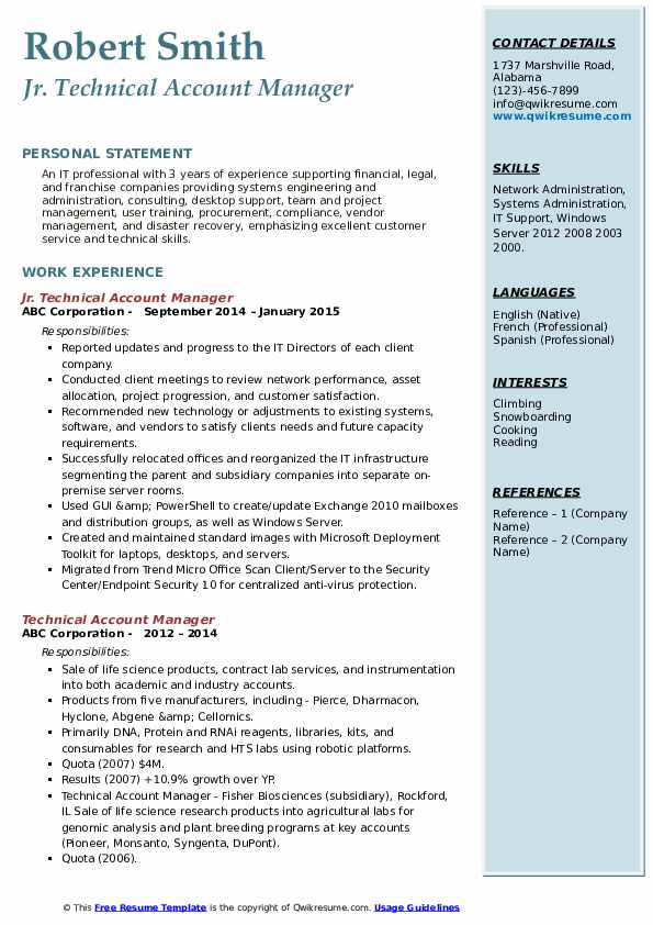 Jr. Technical Account Manager Resume Example