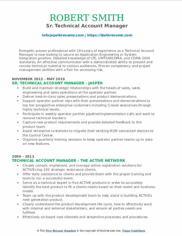 Sr. Technical Account Manager Resume Format