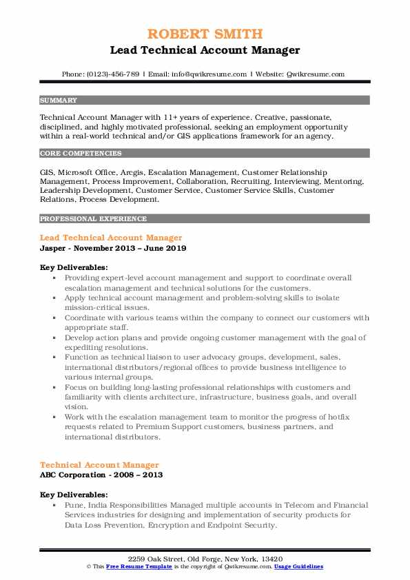 Lead Technical Account Manager Resume Template