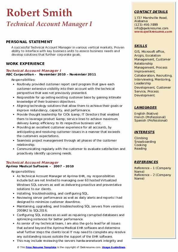 Technical Account Manager I Resume Sample