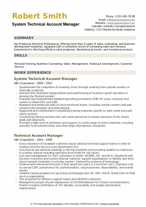 System Technical Account Manager Resume Template