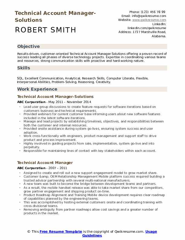 Technical Account Manager-Solutions Resume Sample