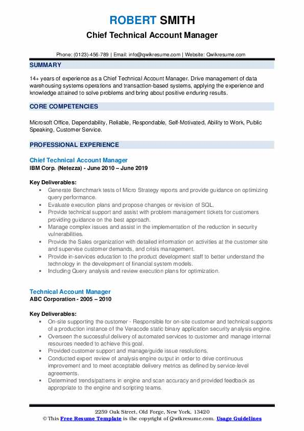 Chief Technical Account Manager Resume Sample