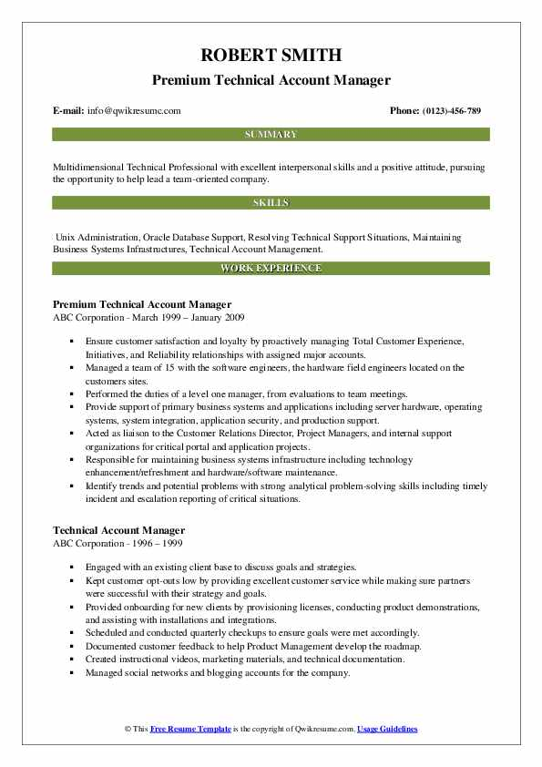 Premium Technical Account Manager Resume Model