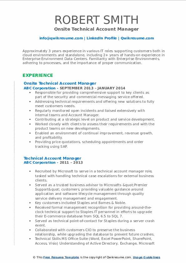 Onsite Technical Account Manager Resume Example