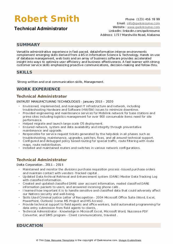 Technical Administrator Resume example