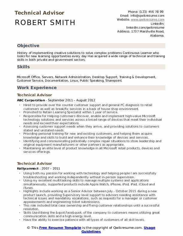 technical advisor resume samples
