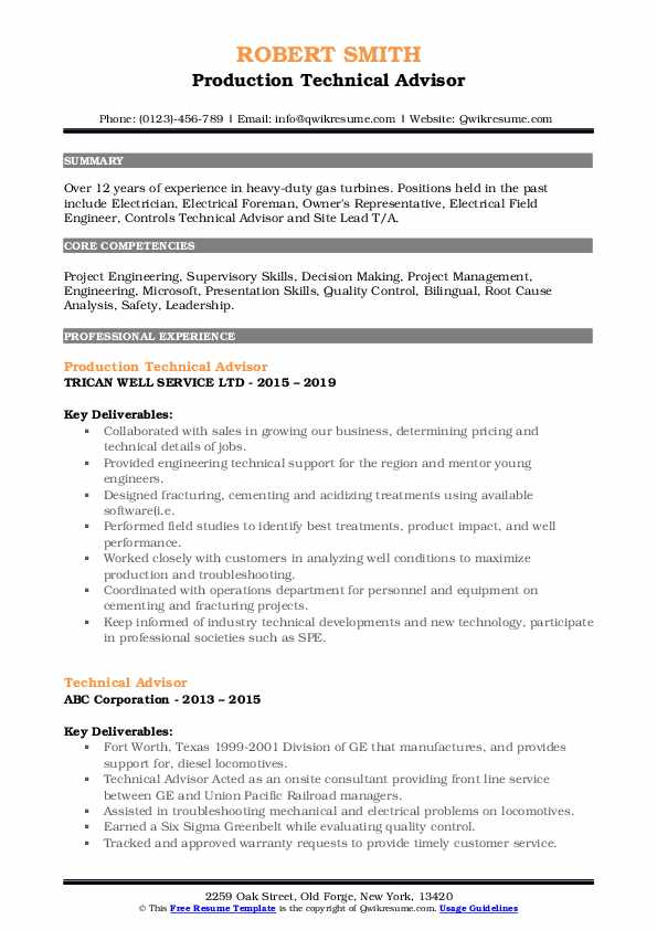 Production Technical Advisor Resume Example