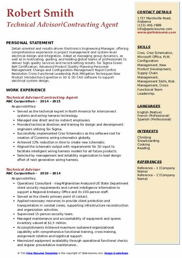 Technical Advisor/Contracting Agent Resume Format