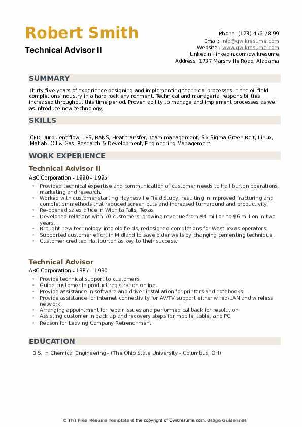 Technical Advisor Resume Samples | QwikResume
