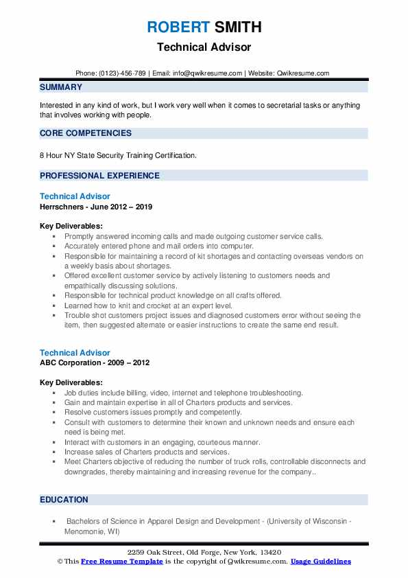 Technical Advisor Resume example