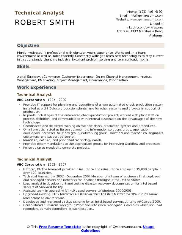 Technical Analyst Resume Example