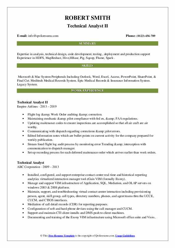 Technical Analyst II Resume Example