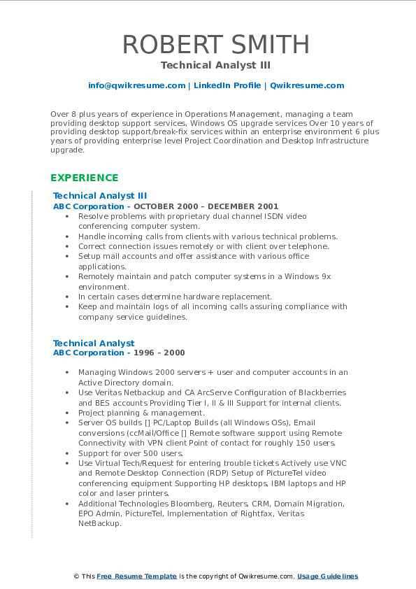Technical Analyst III Resume Format