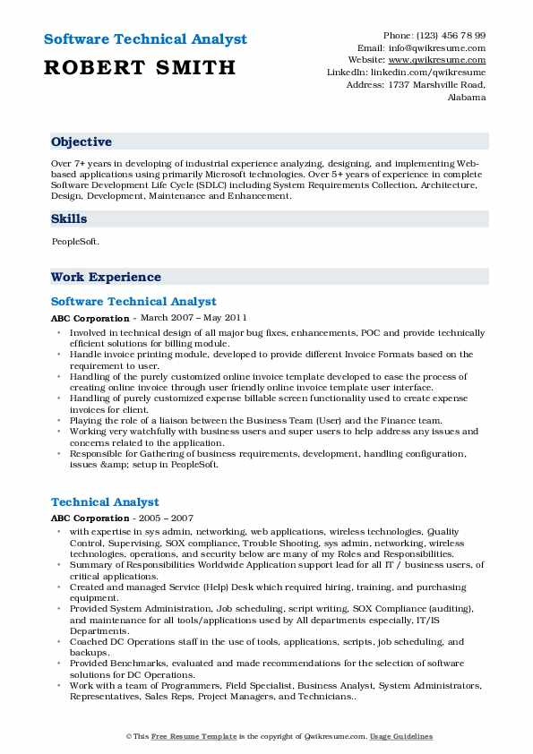 Software Technical Analyst Resume Model