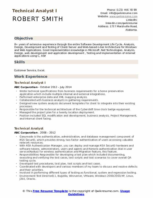 Technical Analyst I Resume Example