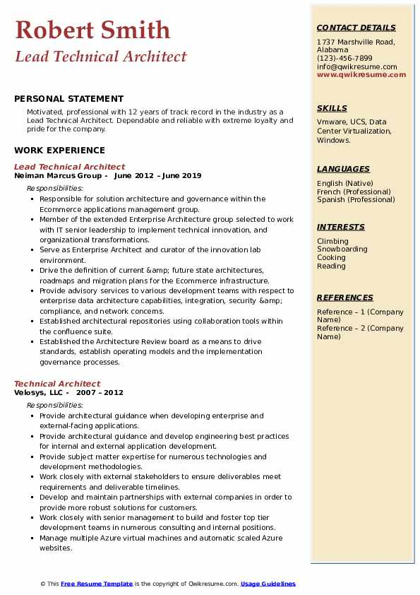 Lead Technical Architect Resume Example
