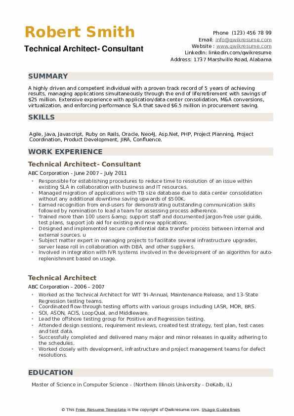 Technical Architect- Consultant Resume Model