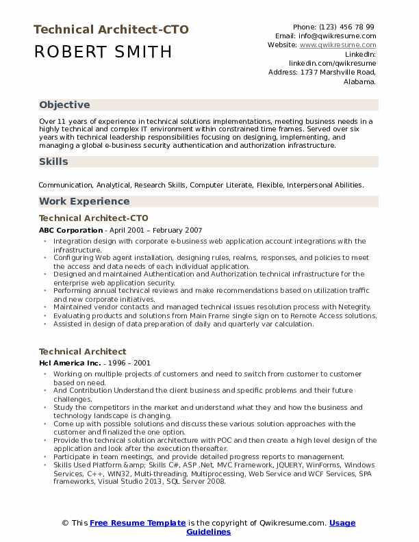 technical architect resume samples  qwikresume
