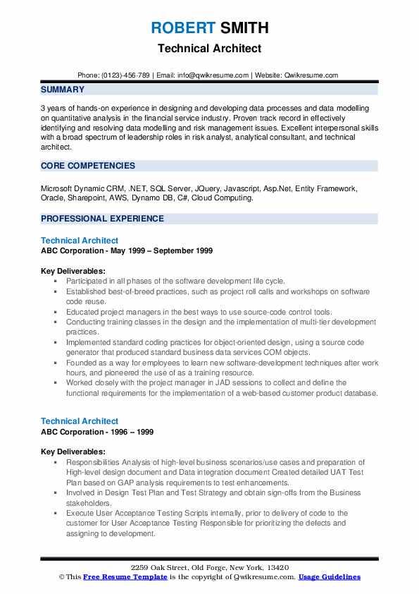 Technical Architect Resume example