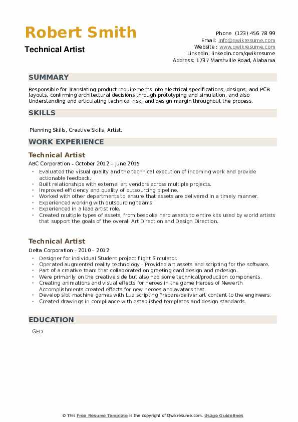 Technical Artist Resume example