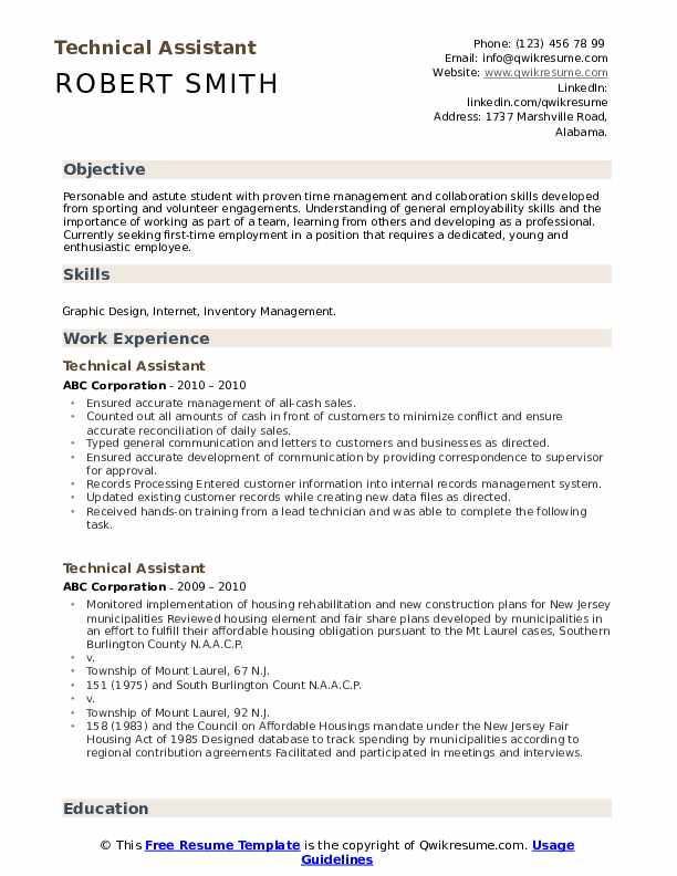 Technical Assistant Resume Sample