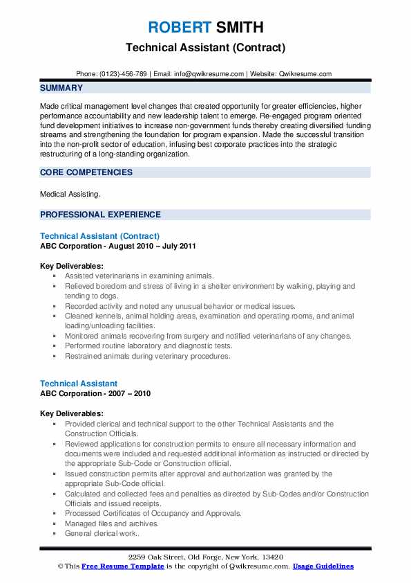 Technical Assistant (Contract) Resume Sample