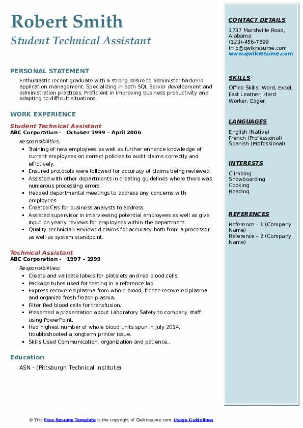 Student Technical Assistant Resume Sample