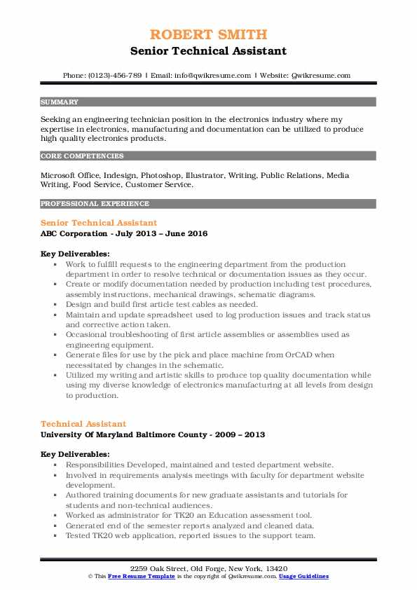 Senior Technical Assistant Resume Sample
