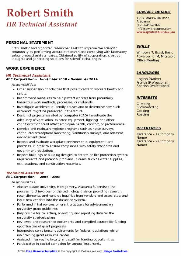 HR Technical Assistant Resume Model